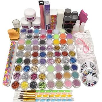 Warm Girl Colored Acrylic Powder Liquid Nail Tips Brushes Rhinestones Ball Buffer File Glue Cutter Hexagon Glitter Nail Art Design Tool