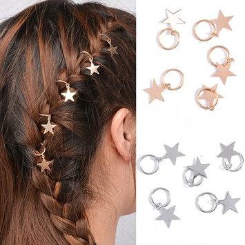 Bluelans 10pcs Dread Lock Dreadlocks Gold and Silver Plated Star Metal Cuffs Clips Braiding Hair Decoration Filigree Hair Ring