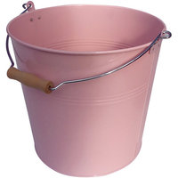 Organize It All Round Metal Bucket with Wood Handle Pink