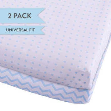 Changing Pad Cover Set, Cradle Sheet 2 Pack 100% Jersey Cotton for Baby Boy Blue Chevron and Polka Dots by Ely's & Co.