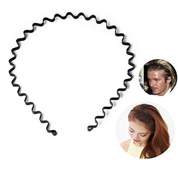 6Pcs Unisex Black Spring Wave Metal Hoops Hair Bands Sports Hair Band Girls Men's Head Band Accessory