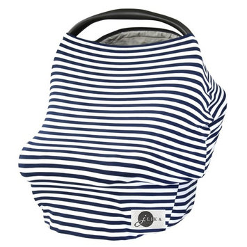 JLIKA Baby Car Seat Covers Stretchy Infant Canopy and Nursing cover for breastfeeding newborns infants babies girls boys best shower gift maternity apron infinity scarf carseats! (Navy White Stripe)