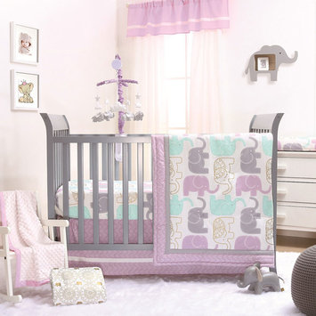 Little Peanut Lilac Purple and Gold Elephants 4 Piece Baby Girl Crib Bedding Set - Jungle Animal Collection