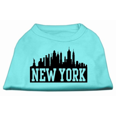 Mirage Pet Products 5181 LGAQ New York Skyline Screen Print Shirt Aqua Lg 14