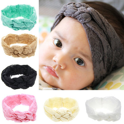 Coxeer 7Pcs Hair Bands Cute Multicolor Lace Head Wraps for Baby Girls