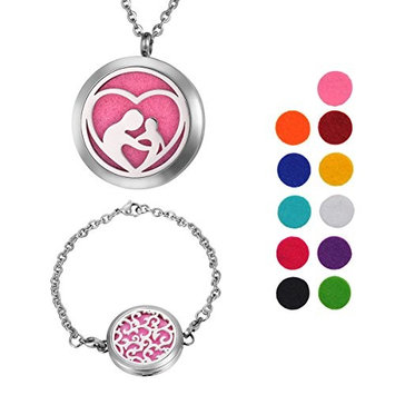1 Set VALYRIA Mother's Love Aromatherapy Essential Oil Diffuser Necklace with Engraved Words,Vine Stainless Steel Locket Bracelet