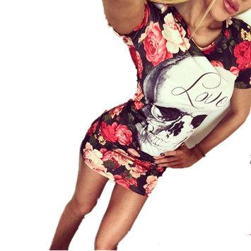 Cold Shoulder Skull Print Rose Skinny Bandage Dress