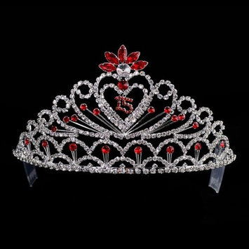 Crystal Rhinestone Girls Royal Red Accent Quinceanera Tiara Headpiece
