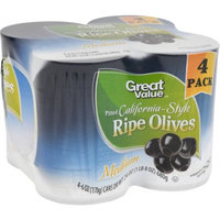 Great Value Pitted California-Style Ripe Olives, Medium, 6 oz, 4 Count