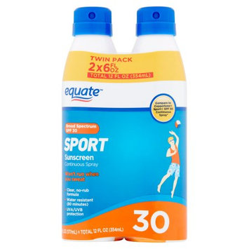 Wal-mart Stores, Inc. Equate Sport Sunscreen Continuous Spray Broad Spectrum Twin Pack, SPF 30, 6 fl oz, 2 count