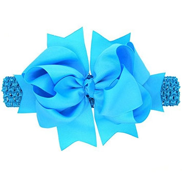 dds5391 Cute Baby Toddler Girls Kids Sweet Hair Band Big Bowknot Solid Color Headband Hairband - Blue