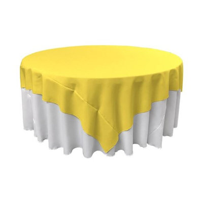 LA Linen TCpop90x90-YellowLgtP99 Polyester Poplin Square Tablecloth Light Yellow - 90 x 90 in.