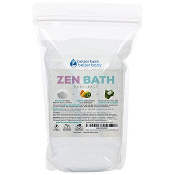 Zen Bath Salt 32oz (2-Lbs) - Epsom Salt Bath Soak With Cedarwood, Rosemary, Eucalyptus Essential Oils Plus Vitamin C Crystals - A Japanese Style Aromatherapy Bath