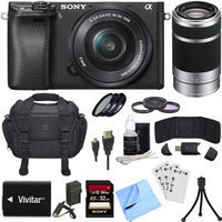 Sony ILCE-6300 a6300 4K Mirrorless Camera w/ 16-50mm + 55-210mm Zoom Lens Bundle
