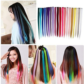 Bewish 20Pcs 20 Colors 20 inch Long Straight Clip in Set Hair Extensions Party Cosplay Highlights Styling Colorful Hair Accessories DIY Hair Decoration