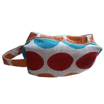 Tamarind Bay Canvas Blend Colorful Toiletry Bag with inside lining, Spots and Dots