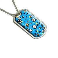 Circles Dots Blue Yellow Military Dog Tag Luggage Keychain