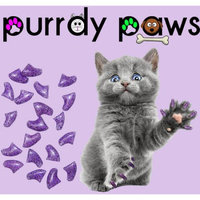 Soft anti scratch nail caps for cat claws * purple glitter * small size * Purrdy Paws brand