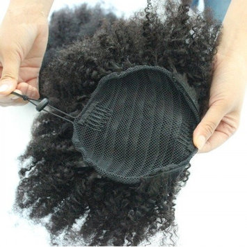 12inch Human Hair Afro Puff Kinky Curly Ponytail Extensions for Black Women Kinky Curly Drawstring Hair Ponytail Hairpieces Natural Kinky Curly Clip in Ponytails