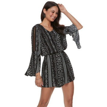 Juniors' American Rag Lace-Up Flare-Sleeve Romper