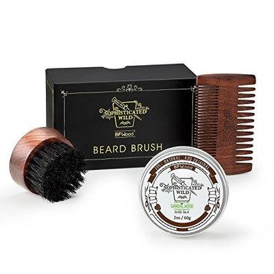 BFWood Beard Kit for Men – Small Travel Beard Brush Boar Bristle + Solid Ebony Wood Beard Comb + Beard Balm 60g Sandalwood Scent