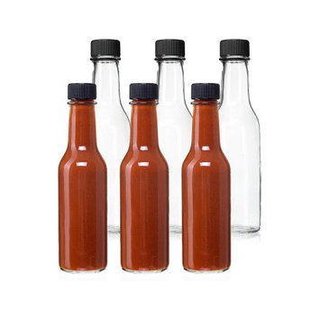 12 Pack - 5 Oz Empty Clear Glass Hot Sauce Bottles with Black Caps and Drip Dispensing Tops, By California Home Goods