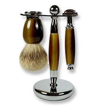 3 Piece Kaliandee Shaving Set with Silvertip Brush in Horn and Chrome, Fiore Razor, and Horn & Chrome Stand