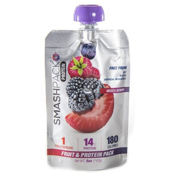 SmashPack Real Fruit and Protein Smoothie Squeeze Snack – Soy Free, Gluten Free, No Added Sugar, No Artificial Ingredients, Non-GMO – 14g of Quality Protein per Smoothie – On-The-Go Energy Snack [Mixed Berry]