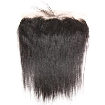 ISEE Hair Unprocessed Brazilian Virgin Ear to Ear Free Part Lace Frontal Bleached Knots with Baby Hair Silky Straight 134 Lace Frontal Human Hair 10 inches, Natural Black