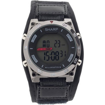 Mz Berger Men's Black Sharp Digital Watch with 100' Water Resistance, El Backlight, Alarm, Stopwatch and Date, Fast-Wrap Strap