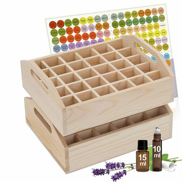 Essential Oil Tray Organizer (Set of 2) - Best Solution for Display & Storage of Oils for Easy Access. Small Wooden Rack, Natural Pine Wood. Trays Hold 60 Oils.