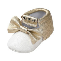 For 0-18 Months,Clode® Cute Infant Newborn Baby Girls Rivet Bowknot PU Leather Princess Crib Shoe Anti-slip Soft Sole Toddler Princess First Walker Shoes