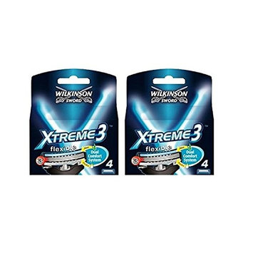 Wilkinson Sword Xtreme3, 4 Count Refill Razor Blades (Pack of 2) + FREE Travel Toothbrush, Color May Vary