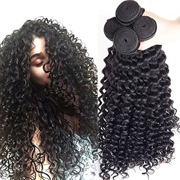 Rosette Hair Curly Wave Hair Extension/Weft, 100% Brazilian Virgin Remy Human Hair with Unprocessed Natural Black Color, Size 12