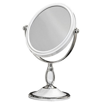 Large Oval Tabletop Two-sided Swivel Vanity Makeup Mirror with 2x Magnification