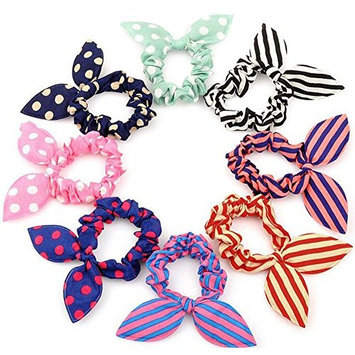20 PCS Cute Baby Girl's Rabbit Ear Hair Tie Bands Ropes Ponytail Holder Elastic Cotton Stretch Hair Styling Tools Headband Scrunchie Hair Acdessories (Color Random)