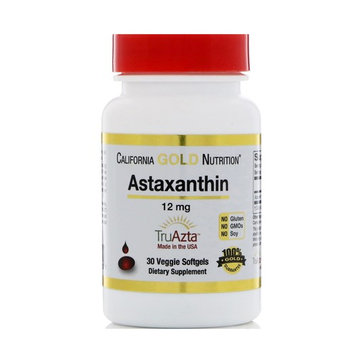 California Gold Nutrition, Astaxanthin, Extra Strength Antioxidant Carotenoid, 12 mg, 30 Veggie Softgels [Package Quantity : 30 Veggie Softgels]