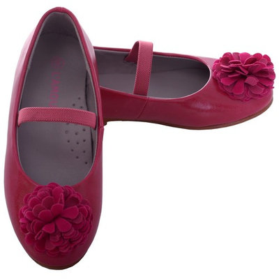 L'Amour Fuchsia Rosette Ballet Flat Style Shoe Toddler Girl 7-10