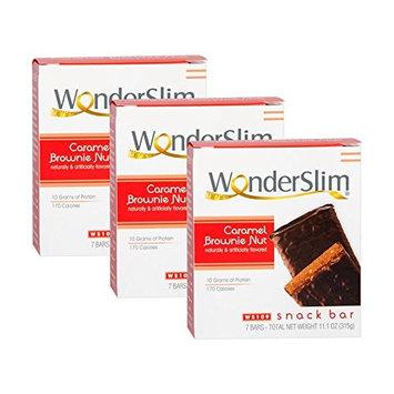WonderSlim High Protein Snack Bar/Diet Bars - Caramel Brownie Nut (7ct) 3 Box Value-Pack (Save 5%) - Trans Fat Free, Aspartame Free, Kosher, Cholesterol Free