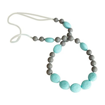 Little Teether Glam Teething Necklace for Baby Nursing - Stylish Silicone Necklace for Moms, Teether for Babies. Provides Teething Pain Relief. Teething Remedy Approved by Mothers! - Jet Black & White