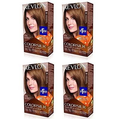 Revlon ColorSilk Hair Color 54 Light Golden Brown 1 Each (Pack of 4) + FREE Schick Slim Twin ST for Dry Skin