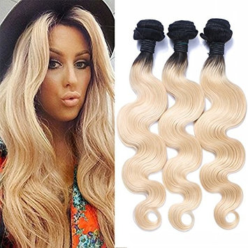 KRN Ombre Blonde Human Hair Bundles Body Wave 3-Pcs 100g,1b-613,Double Weft Dark Roots Weft,Extension for Black Women