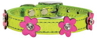 Mirage Pet Products 8308 10LmgMPkM Flower Leather Metallic Lime Green with Metallic Pink Flowers 10
