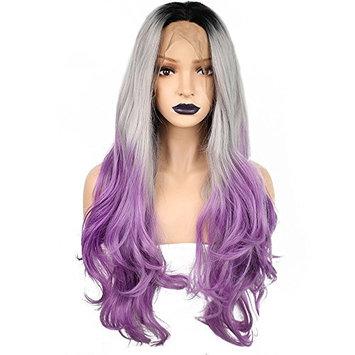 Anogol Hair Cap+24'' Gray Lace Front Wig Purple Ombre Dark Root Women's Hair Heat Resistant Synthetic Fiber Half Hand Tied Long Wavy Wigs Glueless for Fancy Dress Wave