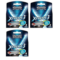 Wilkinson Sword Xtreme3, 4 Count Refill Razor Blades (Pack of 3) + FREE Assorted Purse Kit/Cosmetic Bag Bonus Gift