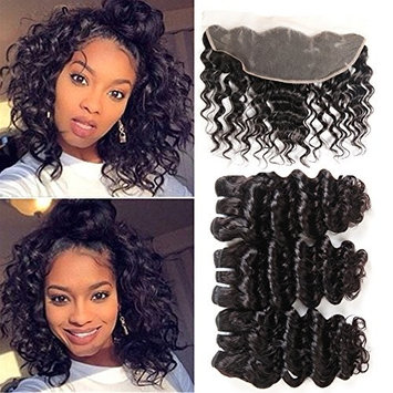 UDU Brazilian Deep Wave Bundles with Frontal 3 Bundles Brazilian Deep Curly Hair with Lace Frontal Closure Short Deep Wave with Front Pre Plucked Lace Frontal 13x4 Ear to Ear Short Deep Curly Weft 50g