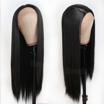 Oxeely Black Long Straight Synthetic Lace Front Wigs for Women Glueless Lace Wig YAKI Heat Resistant Fiber Hair Wig 22 inch