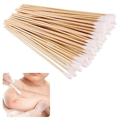 500 Pieces Wooden Long Stick Cotton Swab, Cotton Swabs Swab Applicator, Medical Sterile, Wound Clean, Cleaning Makeup, Removal Residue, DisposablAe UCuteya