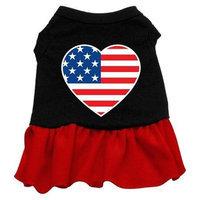 Ahi American Flag Heart Screen Print Dress Black with Red Lg (14)