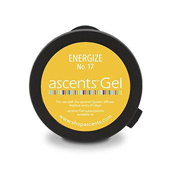Ascents Energize No. 17 Clinical Aromatherapy Essential Oil Refill Gel Cartridge (for Ascents Diffuser); Aromatherapy for Natural Energy & Mood Boost; Hypoallergenic; Freshens Air 30+ Days; 600 Sq Ft